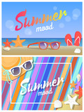 Summer Mood Posters, Colorful Vector Illustrations - 211615269