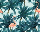 Exotic summer print. Seamless pattern with palm tree  and flamingo. Watercolor style.Vector illustration - 211618636