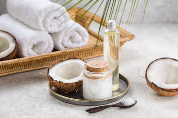 Natural coconut oil for body care.