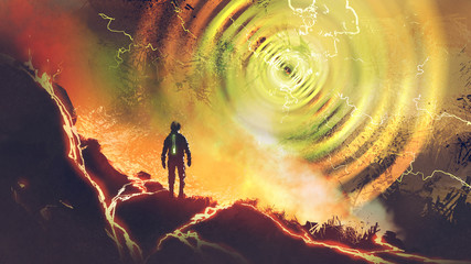 sci-fi scene showing the man discovers powers of electricity energy ball, digital art style, illustration painting