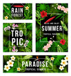 Summer tropical paradise poster with palm leaf