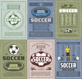 Soccer and football sport retro grunge posters - 211625634