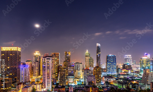 Poster urban night cityscape with full moon and beautiful sky