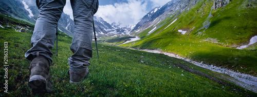 Leinwanddruck Bild Hiking in the mountains