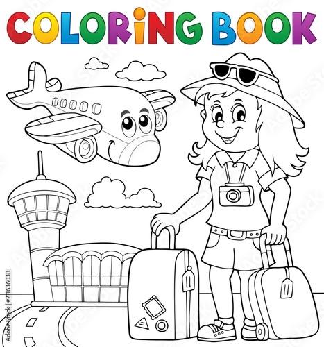 Fotobehang Voor kinderen Coloring book tourist woman theme 2