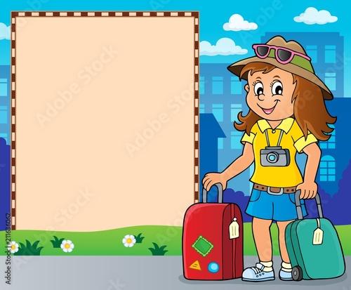 Fotobehang Voor kinderen Tourist woman theme frame 2