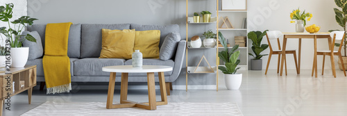 Leinwanddruck Bild Real photo of a grey sofa with yellow pillows standing behind a table and next to a shelf with ornaments in living room interior with table and chairs in the bacground