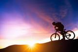 Extreme mountain bike sport athlete man riding outdoors lifestyle trail. - 211641217