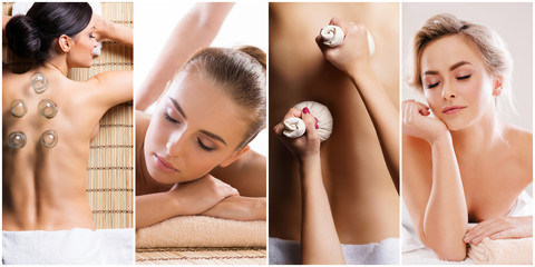 Traditional massage and healthcare treatment in spa. Young, beautiful and healthy girls having recreation therapy.