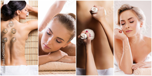 Fotobehang Spa Traditional massage and healthcare treatment in spa. Young, beautiful and healthy girls having recreation therapy.