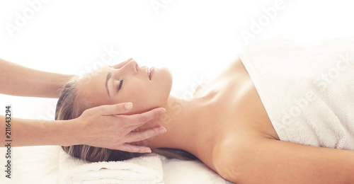 Leinwanddruck Bild Beautiful Woman in Spa. Recreation, Energy, Health, Massage and Healing Concept.