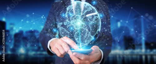 Businessman using globe network hologram with America Usa map 3D rendering