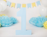 Baby Boy Blue Number One First Birthday - 211647821