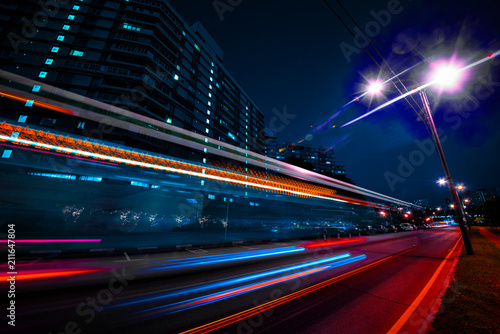 Fototapeta Lines long exposure urban landscape night photography
