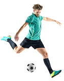 one caucasian soccer player man isolated on white background - 211650201