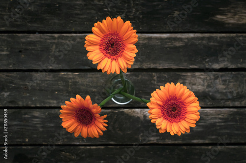Aluminium Gerbera Bouquet of orange gerbera flowers on wooden background.