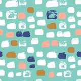 Shaped grunge seamless background. Vector ink pattern. - 211654851