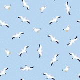 Seamless pattern of nautical birds - marine seagulls. Hand drawn vector sea illustration. - 211654879