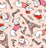 French style dog seamless pattern on pink background. Cute cartoon parisian dachshund and Eiffel tower vector illustration. French style dressed dog with red beret. - 211655016