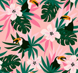 Floral background with tropical flowers, leaves and toucans. Vector seamless pattern for stylish fabric design. - 211655268