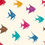 Ocean Fishes Multicolored Seamless Vector Pattern