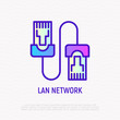 Patch cable thin line icon. Modern vector illustration of LAN network.