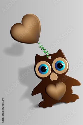 Fotobehang Uilen cartoon owl illustration jpg