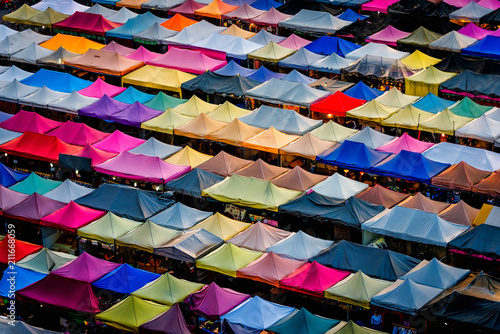 Plexiglas Bangkok Aerial view,Bangkok Train market secondhand market at sunset time. Bird eyes view of Multi-colored tents /Sales of second-hand market at twilight - Panorama picture in Bangkok, Thailand