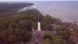 Aerial flyover of lighthouse at Hunting Island, South Carolina, USA. - 211668286