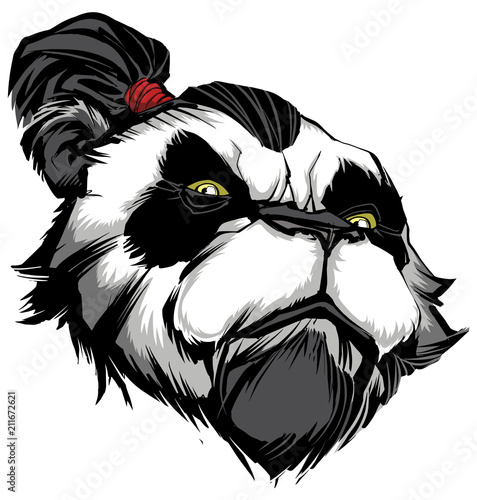 Fototapeta Panda Master on White / Hand drawn illustration of proud panda warrior on black background.