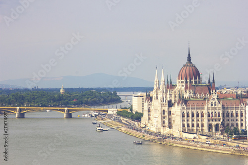 Budapest, Hungary - June 2018, The Hungarian Parliament Building, the Orszaghaz, and the River Danube in Budapest, Hungary, 29 June 2018