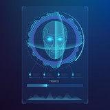 Face digital recognition, id faces biometric scanning to safe access abstract vector futuristic background