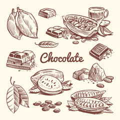 Hand drawn cacao, leaves, cocoa seeds, sweet dessert and chocolate bar. Cocoa sketch vector collection © MicroOne