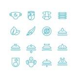 Disposable baby diaper and characteristics line icons. Absorbent hygiene products for infant with incontinence vector symbols isolated - 211681272