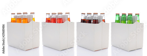 Six Pack Bottles of Different Flavors of Soda - 211681486