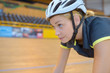 Head shot of female cyclist