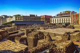 Mexico. The City of Mexico (CDMX). The ruins of the Templo Mayor (UNESCO World Heritage Site)