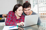 Young couple in love using computer - 211687856