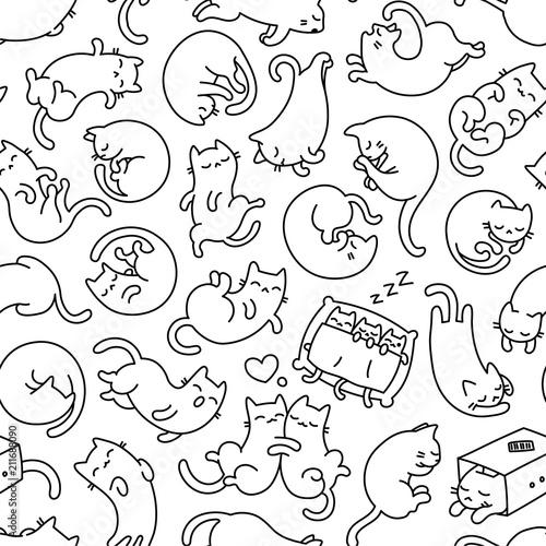 fototapeta na ścianę Cute Sleeping Cat Outline Seamless Pattern And Background