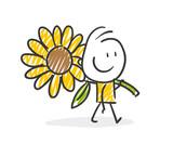 Strichfiguren / Strichmännchen: Sonnenblume. (Nr. 275) - 211689447