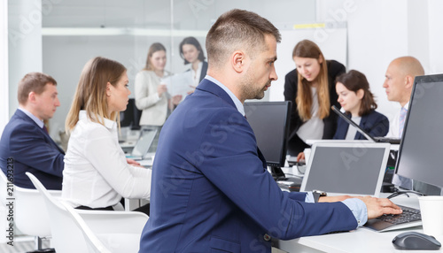 male manager during daily work
