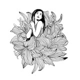 Girl in lily flowers. Vector