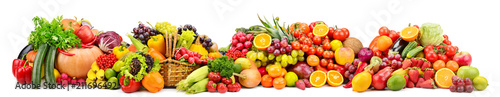 Large collection fresh fruits and vegetables useful for health isolated on white - 211696492