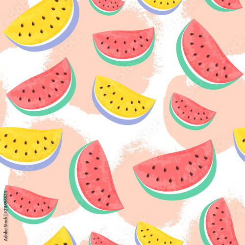 Tapeta Seamless Watermelon Pattern isolated on hand drawn brush backgro