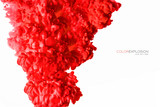 Red Acrylic Ink in Water. Color Explosion. Paint Texture - 211697421