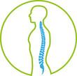 Person und Wirbelsäule, Rücken, Orthopädie, Logo, Zeichen