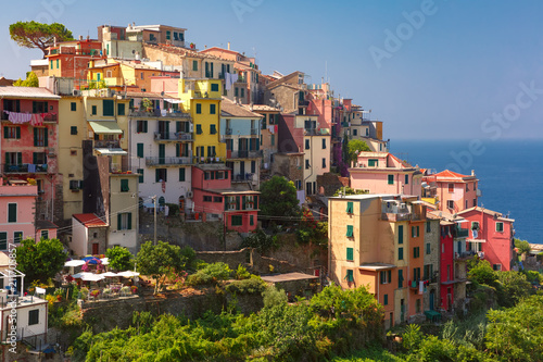 Fotobehang Liguria Aerial panoramic view of Corniglia fishing village in Five lands, Cinque Terre National Park, Liguria, Italy.