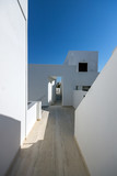 Typical house in town of Fira, Santorini island, Thira, Cyclades, Greece - 211706817