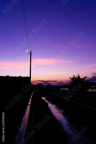 Canvas Nacht snelweg Sky
