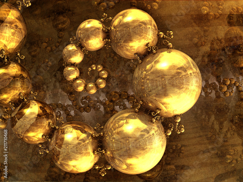 Spiral Golden Balls, Artistic Image 3D - 211710468